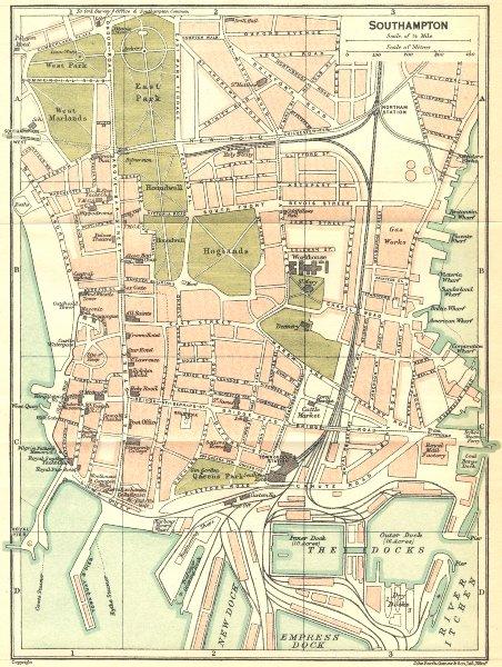 Associate Product HANTS. Southampton Town Plan 1924 old vintage map chart