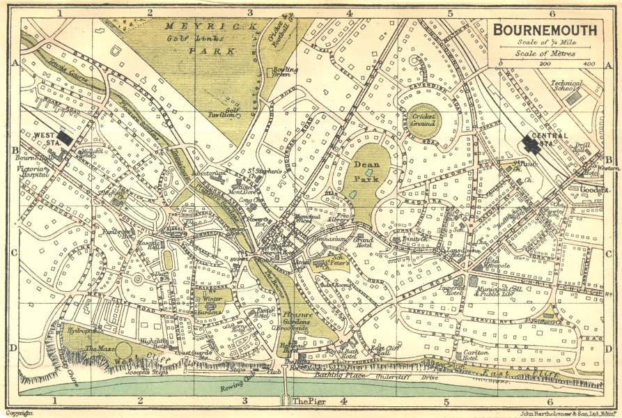 Associate Product HANTS. Bournemouth Town Plan 1924 old vintage map chart