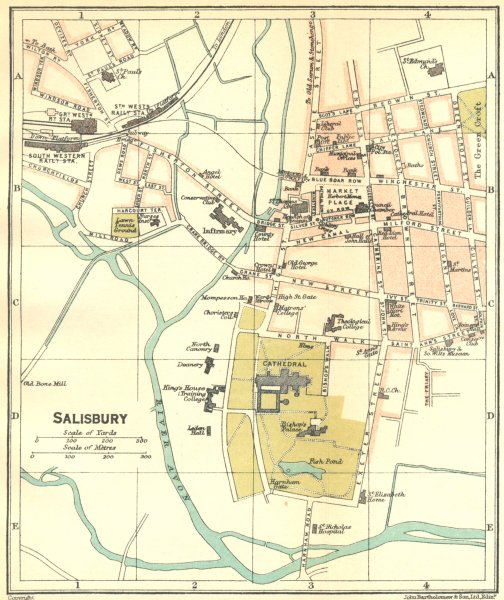 Associate Product WILTS. Salisbury Town Plan 1924 old vintage map chart
