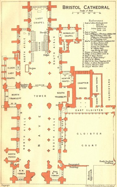 Associate Product GLOS. Bristol cathedral 1924 old vintage map plan chart