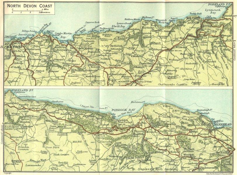 Associate Product DEVON. North Coast 1924 old vintage map plan chart