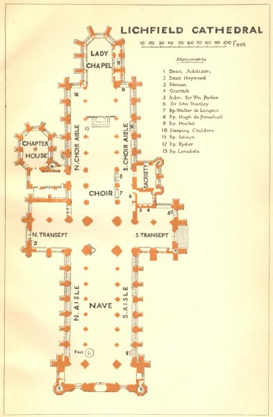 Associate Product STAFFS. Lichfield cathedral 1924 old vintage map plan chart
