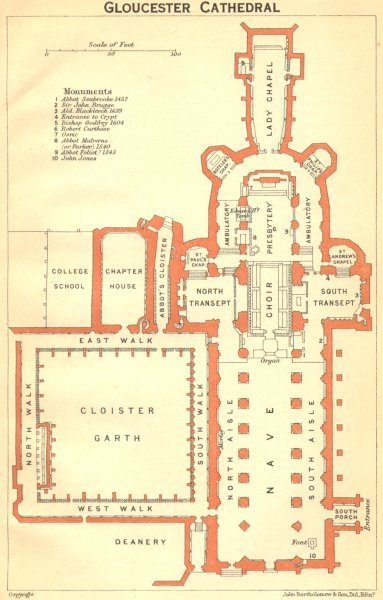 Associate Product GLOS. Gloucester cathedral 1924 old vintage map plan chart