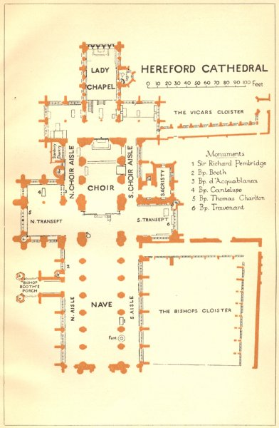 Associate Product HEREFORD. Cathedral 1924 old vintage map plan chart