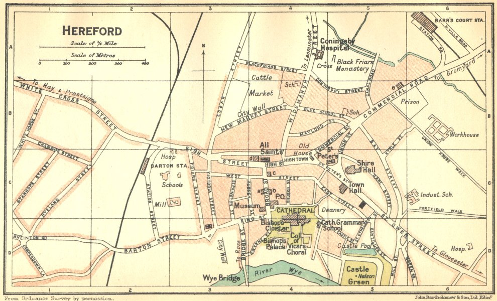 Associate Product HEREFORD. Town Plan 1924 old vintage map chart