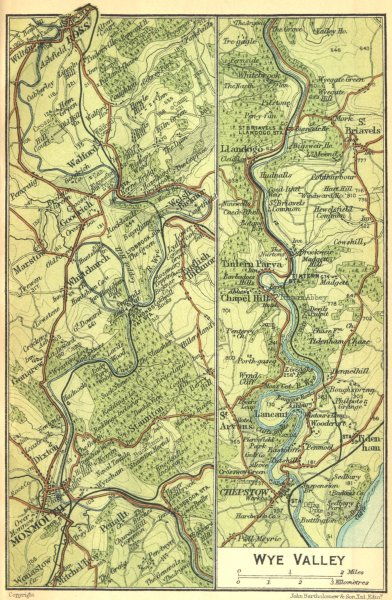 WALES. Wye Valley 1924 old vintage map plan chart