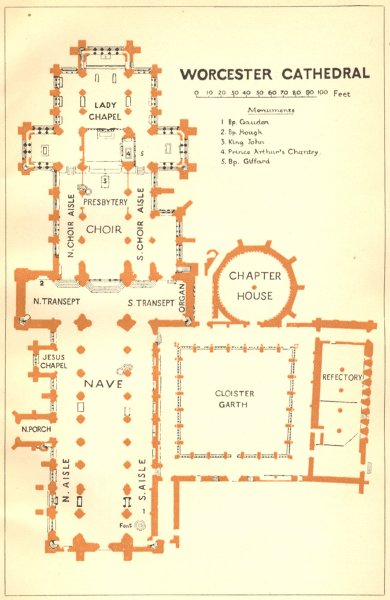 Associate Product WORCS. Worcester cathedral 1924 old vintage map plan chart