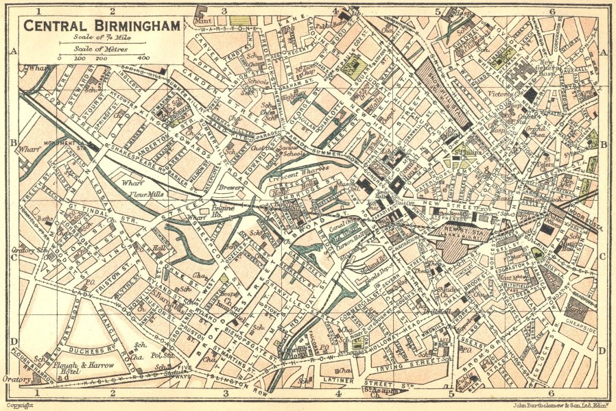 Associate Product WARCS. Central Birmingham Town Plan 1924 old vintage map chart