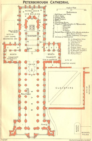 Associate Product NORTHANTS. Peterborough cathedral 1924 old vintage map plan chart