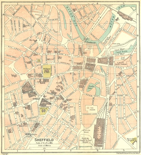 Associate Product YORKS. Sheffield Town Plan 1924 old vintage map chart