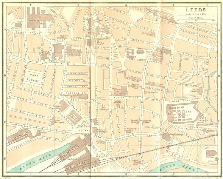 Associate Product YORKS. Leeds Town Plan 1924 old vintage map chart