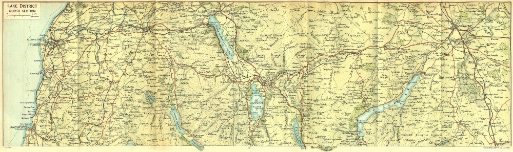 Associate Product CUMBS. Lake District, North 1924 old vintage map plan chart