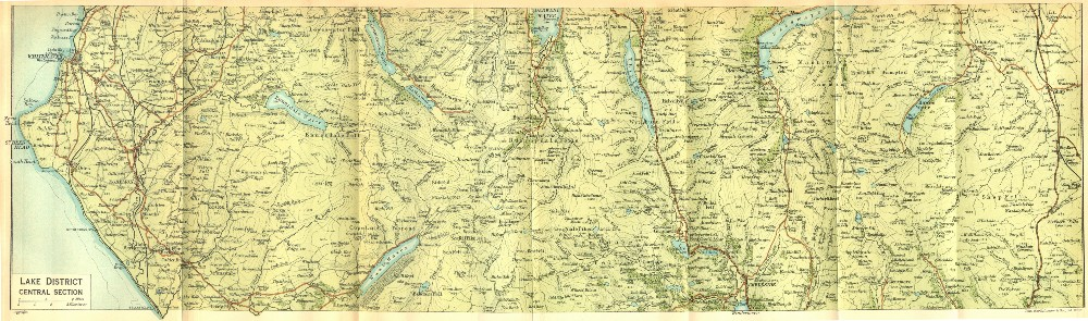 Associate Product CUMBS. Lake District, Central Section 1924 old vintage map plan chart