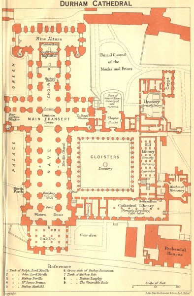 Associate Product DURHAM. Cathedral 1924 old vintage map plan chart