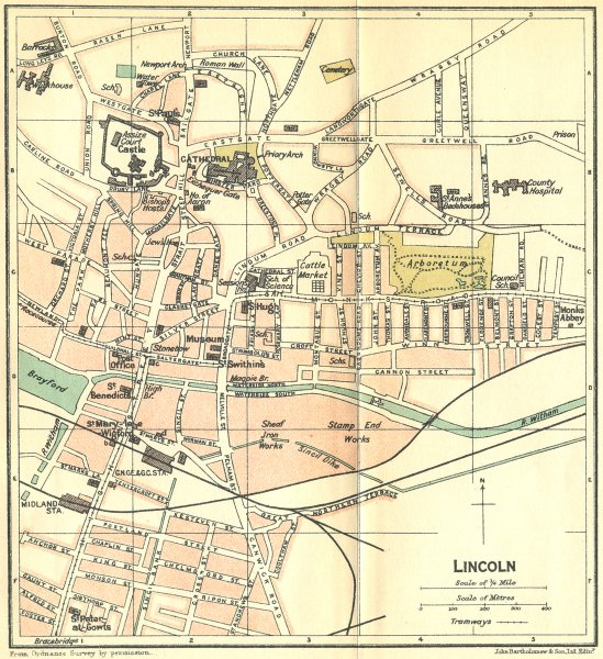 Associate Product LINCS. Lincoln Town Plan 1924 old vintage map chart