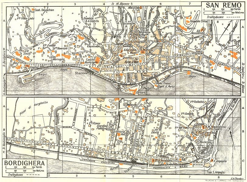 Associate Product SAN REMO; BORDIGHERA town/city plan. Italy 1953 old vintage map chart
