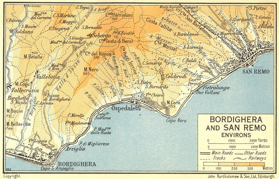 Associate Product Bordighera and San Remo Environs 1953 old vintage map plan chart