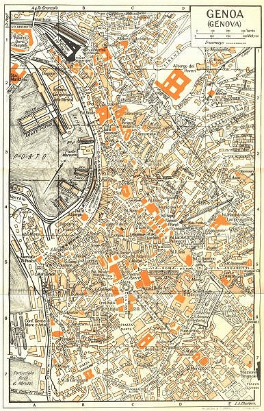 Associate Product GENOA town/city plan. Genova. Italy 1953 old vintage map chart
