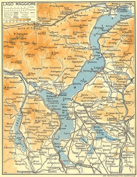 Associate Product Lake/Lago di Maggiore 1953 old vintage map plan chart