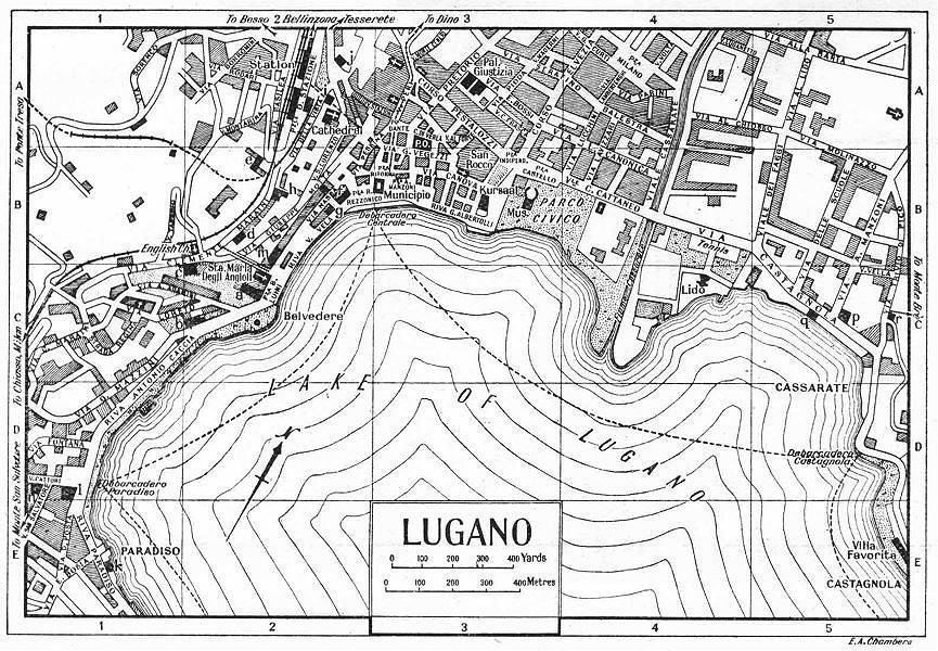 Associate Product LUGANO town/city plan. Italy 1953 old vintage map chart