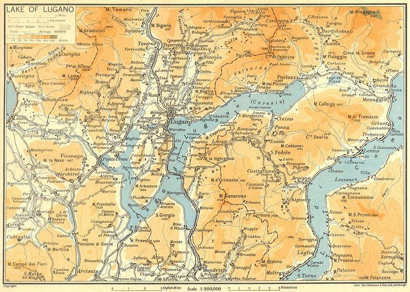 Associate Product Lake/Lago di Lugano 1953 old vintage map plan chart
