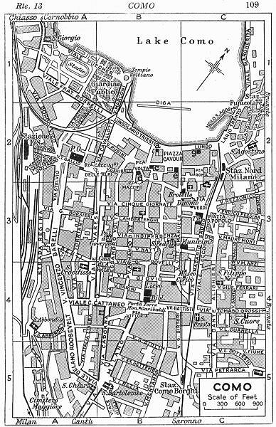 COMO town/city plan. Italy 1953 old vintage map chart