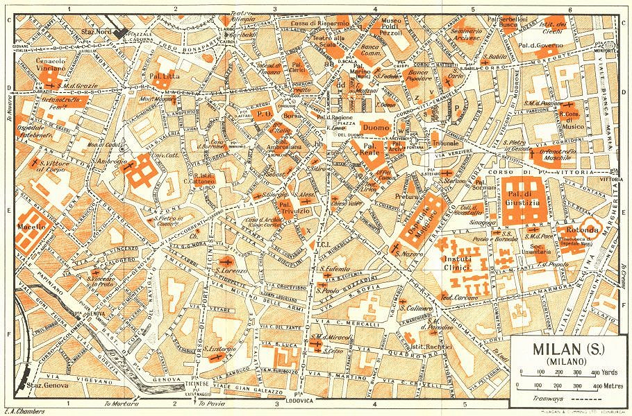 Associate Product MILAN, S town/city plan. Milano. Italy 1953 old vintage map chart