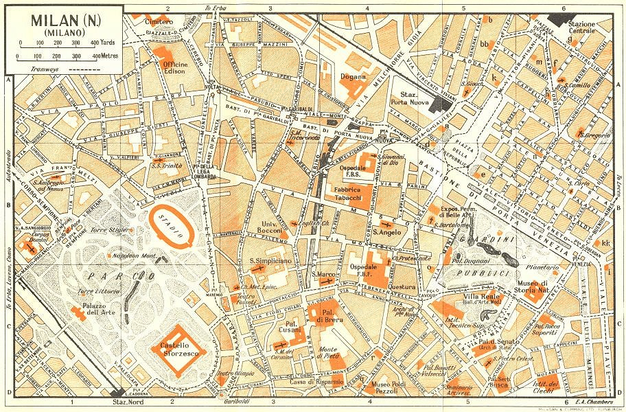 Associate Product MILAN, N town/city plan. Milano. Italy 1953 old vintage map chart