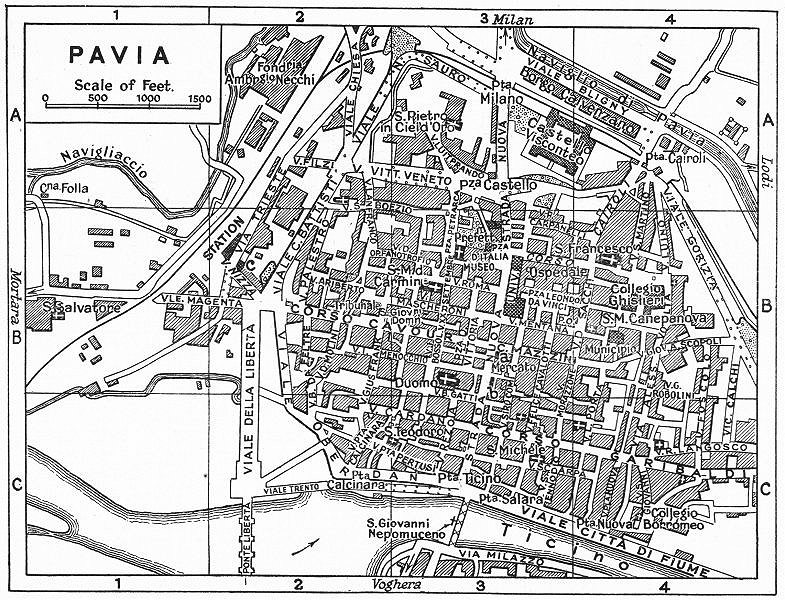 Associate Product PAVIA town/city plan. Italy 1953 old vintage map chart