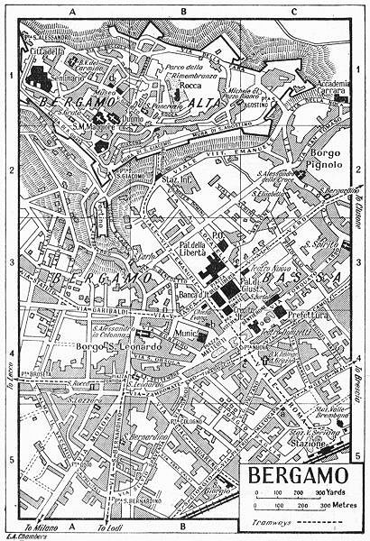 Associate Product BERGAMO town/city plan. Italy 1953 old vintage map chart