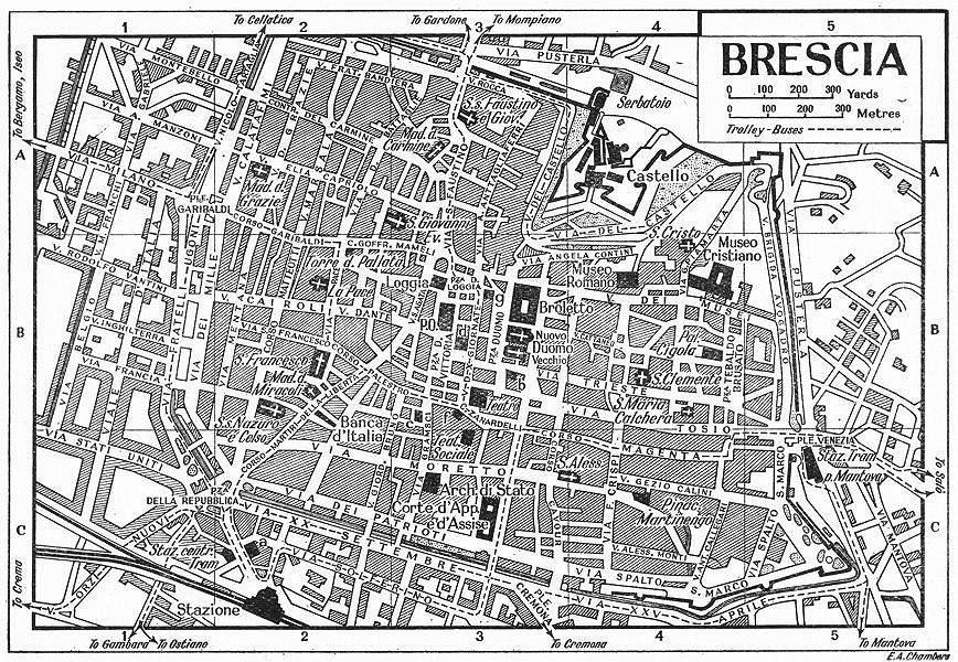 Associate Product BRESCIA town/city plan. Italy 1953 old vintage map chart