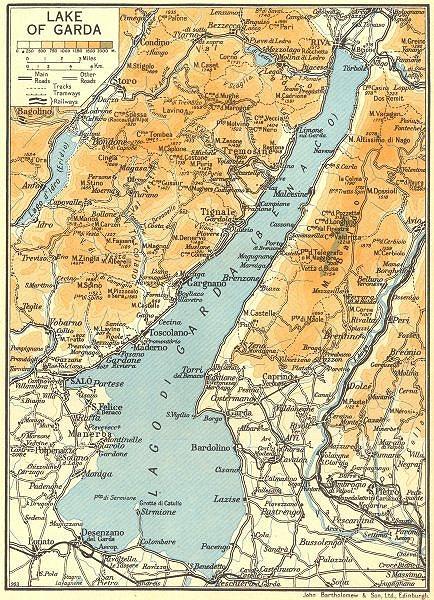 Associate Product Lake/Lago di Garda 1953 old vintage map plan chart