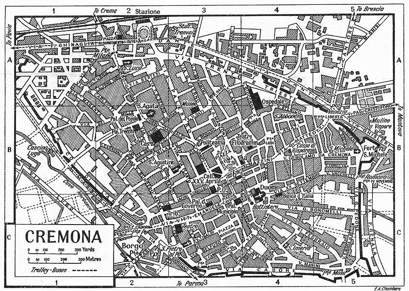 Associate Product CREMONA town/city plan. Italy 1953 old vintage map chart