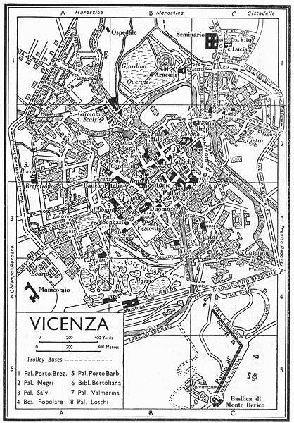 Associate Product VICENZA town/city plan. Italy 1953 old vintage map chart