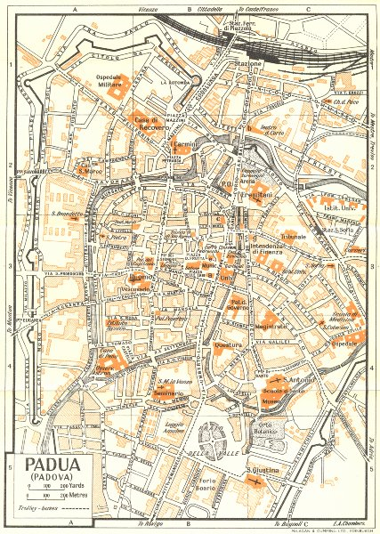 Associate Product PADUA town/city plan. Italy 1953 old vintage map chart