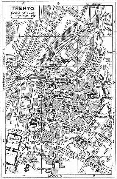 Associate Product TRENTO town/city plan. Italy 1953 old vintage map chart