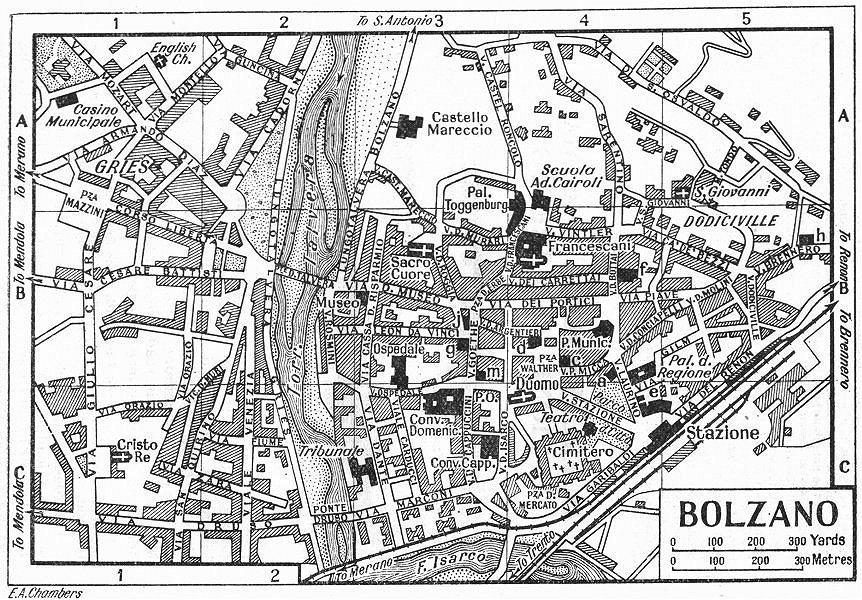 Associate Product BOLZANO town/city plan. Italy 1953 old vintage map chart