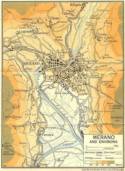 Associate Product Merano and Environs   1953 old vintage map plan chart