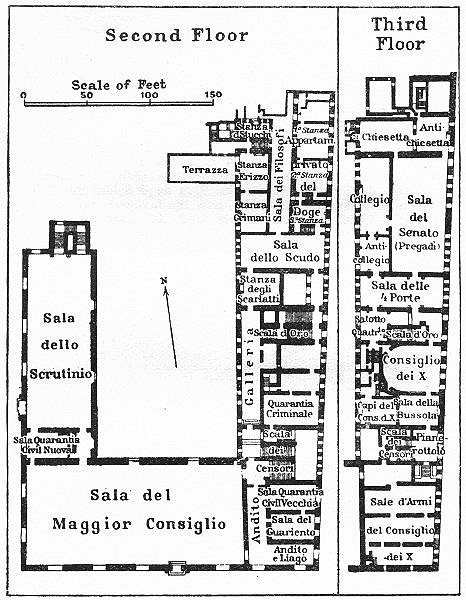Associate Product Interior of the Doges' Palace. Floor plan. Venice 1953 old vintage map chart