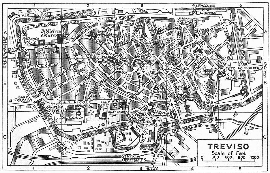 Associate Product TREVISO town/city plan. Italy 1953 old vintage map chart