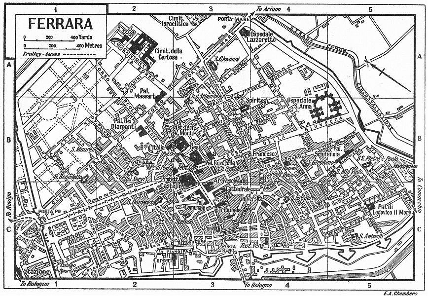 Associate Product FERRARA town/city plan. Italy 1953 old vintage map chart