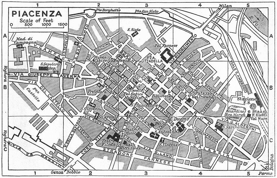 Associate Product PIACENZA town/city plan. Italy 1953 old vintage map chart