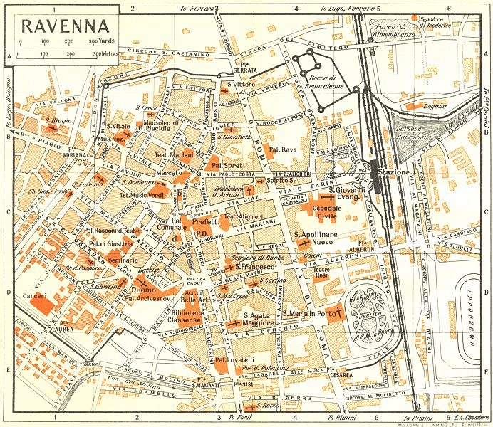 Associate Product RAVENNA town/city plan. Italy 1953 old vintage map chart