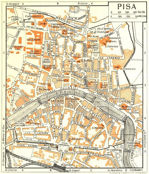 Associate Product PISA town/city plan. Italy 1953 old vintage map chart