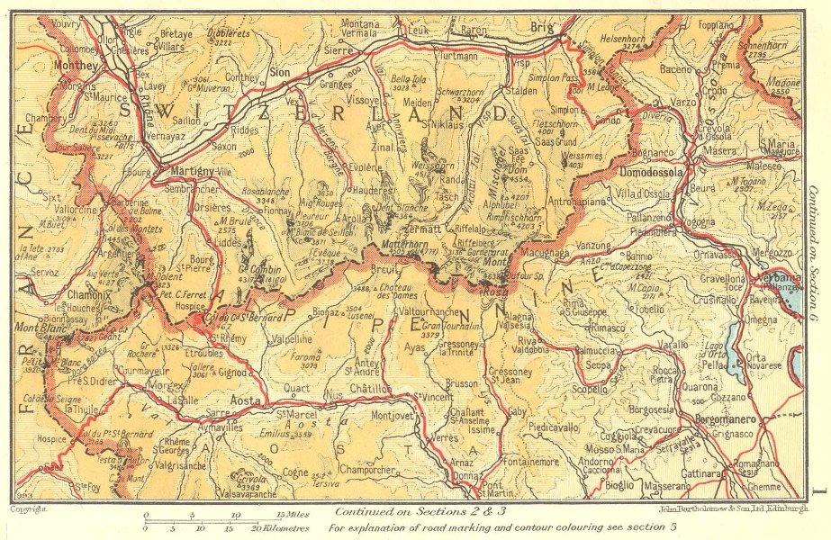 Associate Product Alpi Pennine Alps. Valais Piedmont Aosta 1953 old vintage map plan chart