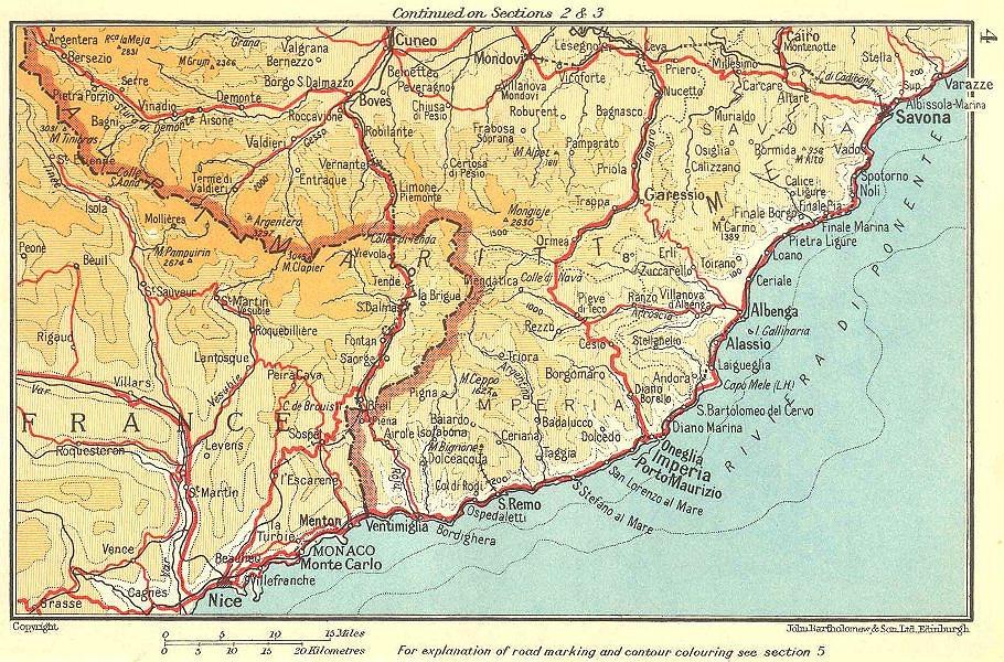 Associate Product Riviera di Ponente. Côte d'Azur. Nice-Monaco-Savona 1953 old vintage map chart