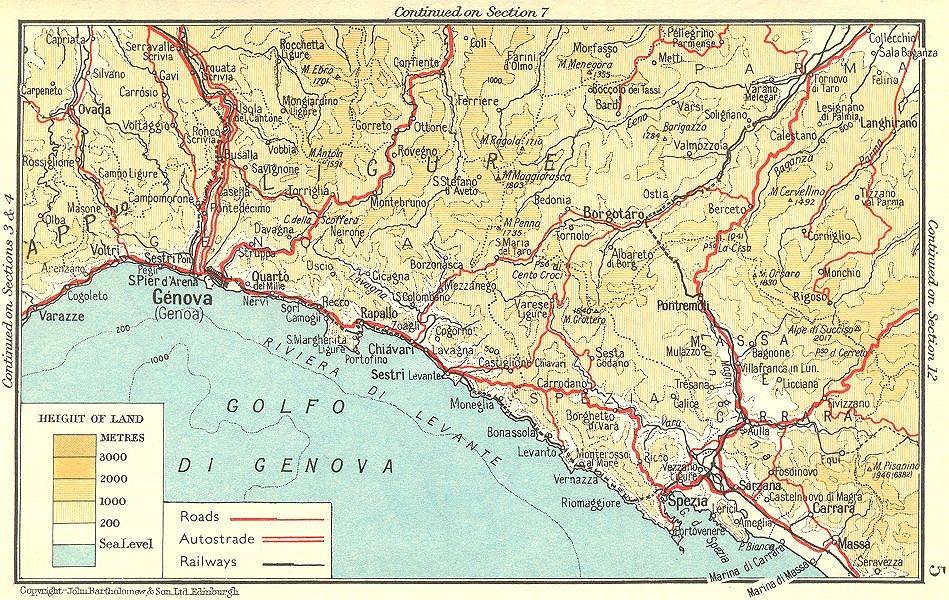 Associate Product Riviera di Levante. Genova/Genoa-La Spezia 1953 old vintage map plan chart