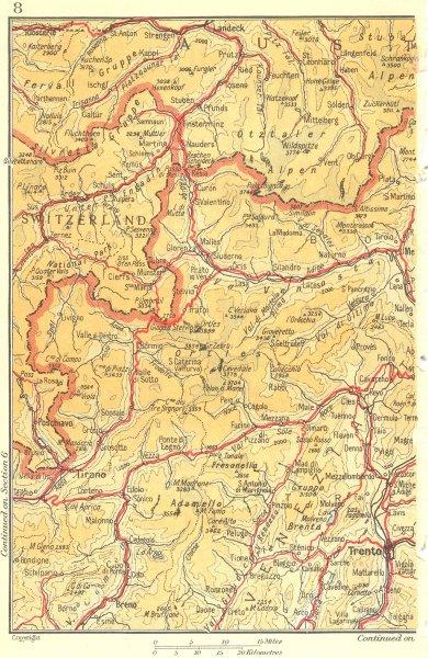 Associate Product ITALY SWITZERLAND AUSTRIA. Tirano Trento 1953 old vintage map plan chart