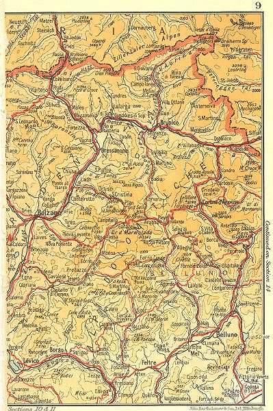 Associate Product ITALY. Dolomites Alpi Dolomitiche 1953 old vintage map plan chart
