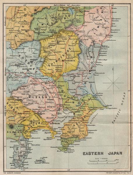 JAPAN. East 1907 old antique vintage map plan chart